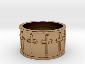14 Cross Ring Solid V1 Ring Size 7.75 in Polished Brass