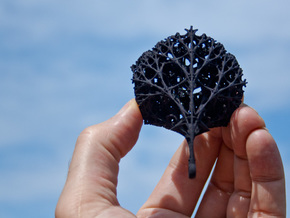 Dandelion Fractal Necklace in Black Natural Versatile Plastic