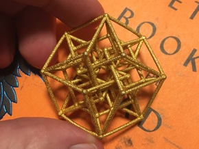 4d nested hypercube in Polished Gold Steel