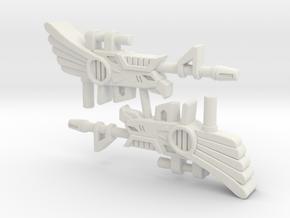 Battle Beast Blue Eagle Gun (3mm, 4mm, 5mm) in White Natural Versatile Plastic: Small