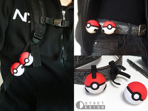 Small pokeball holder - Clip version - 1:1 scale in Black Natural Versatile Plastic