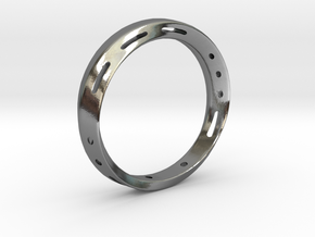 Morse code Mobius Ring - LOVE in Polished Silver: 7.75 / 55.875
