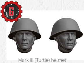 28mm heroic scale MK III/MK IV 'Turtle' Helmets in Smooth Fine Detail Plastic: Small