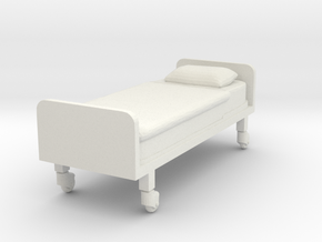Hospital Bed (flat) 1/24 in White Natural Versatile Plastic