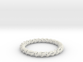 Barred Helix Bangle in White Natural Versatile Plastic