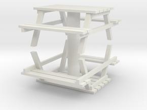 Park Picnic Bench (x2) 1/64 in White Natural Versatile Plastic
