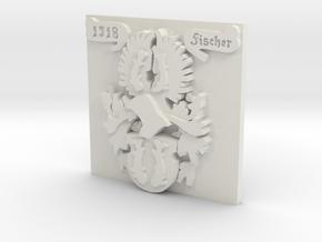 Fischer Family Crest - One Inch Square in White Natural Versatile Plastic