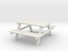 Park Picnic Bench 1/43 in White Natural Versatile Plastic