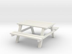 Park Picnic Bench 1/35 in White Natural Versatile Plastic