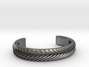 BRAID PATTERN 2 NARROW CUFF DBL MEDIUM in Polished Nickel Steel