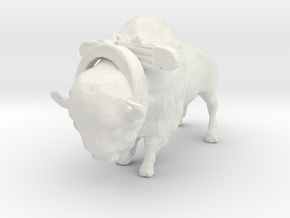 S Scale Bison with Harness in White Natural Versatile Plastic