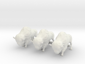 3 O Scale Bison in White Natural Versatile Plastic