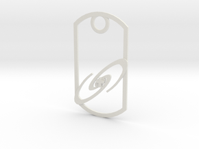 Dog tag - Galaxy and Cross in White Natural Versatile Plastic
