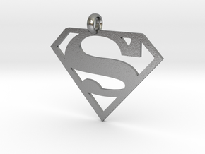 Superman necklace charm in Natural Silver