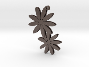 Daisy earrings - 1 pair in Polished Bronzed Silver Steel