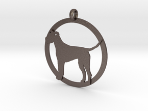 Irish Terrier charm in Polished Bronzed Silver Steel