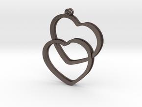 2 Hearts earrings in Polished Bronzed Silver Steel