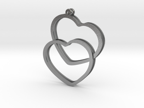 2 Hearts earrings in Natural Silver