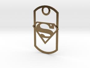 Superman dog tag in Natural Bronze