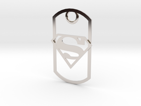 Superman dog tag in Platinum