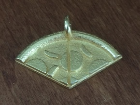 Pizza friendship pendant (thick crust slices 5&6) in Polished Gold Steel