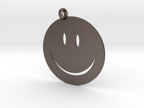 Happy face charm in Polished Bronzed Silver Steel