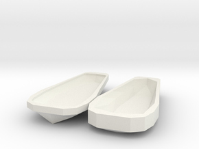 Miniature Open Sarcophagus in White Natural Versatile Plastic