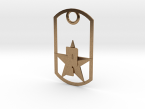 PHS dog tag - Plains Star in Natural Brass