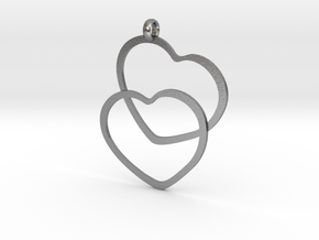 2 Hearts necklace pendant in Natural Silver
