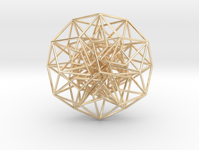 6D Cube in its Toroidal form - 50x1mm - 64 vertex in 14k Gold Plated Brass