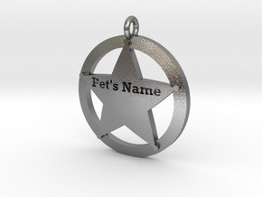 Revised 5 point sheriffs star pet tag in Natural Silver