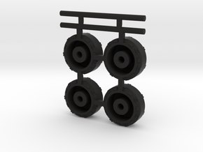 """4"""" x 1.25""""  Cyber truck (wheels tires only)  scale in Black Natural Versatile Plastic"""