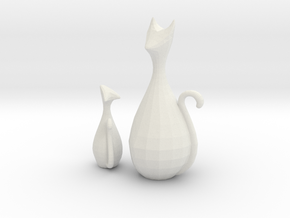 Decorative Home Cat Sculpture in White Natural Versatile Plastic: Small