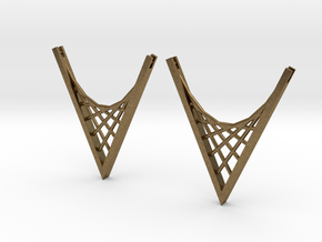 Parabolic Suspension Earrings in Natural Bronze