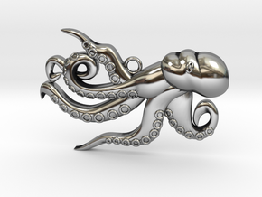 Playful Octopus  in Antique Silver