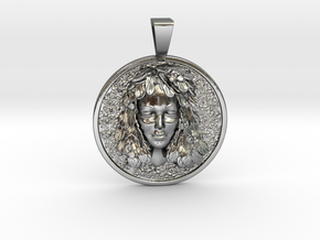 Spring Lady Coin Pendant in Polished Silver