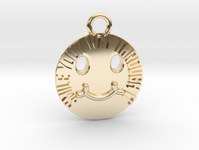Smile Your Way Through It Circle Charm in 14K Yellow Gold
