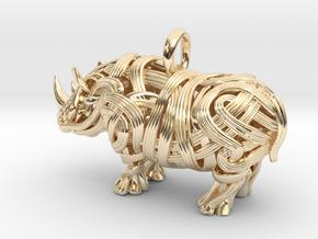 The Rhino Pendant  in 14K Yellow Gold