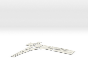 SINGLE TURNOUT X 90 DOUBLE TRACK RIGHT in White Natural Versatile Plastic