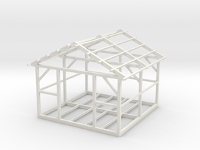 Wooden House Frame 1/72 in White Natural Versatile Plastic
