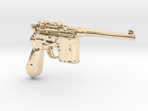 1/18 Scale Broomhandle Mauser in 14K Yellow Gold