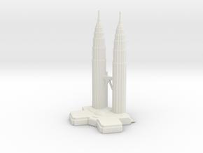 Petronas Towers - Kuala Lumpur (1:4000) in White Natural Versatile Plastic