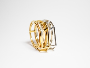 Gold Ring: 14k gold plated brass – geometric in 14k Gold Plated Brass: 8 / 56.75