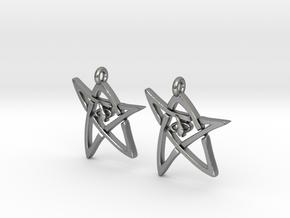 Derleth Elder Sign Earring (Pair) in Natural Silver