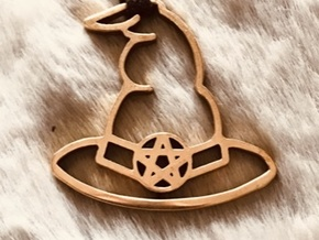 Master Wizards Hat Pendant in Polished Bronze