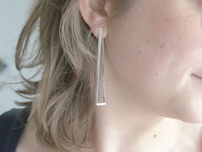 Faux square earrings in Natural Silver