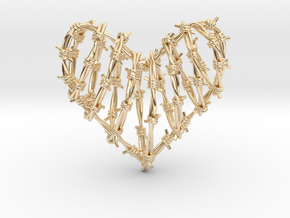 Barbed Wire Heart Cage Pendant in 14K Yellow Gold
