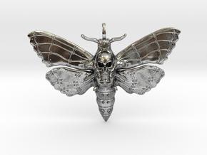 Steampunk Totenkopfmotte_Pendant_40mm_wide in Antique Silver