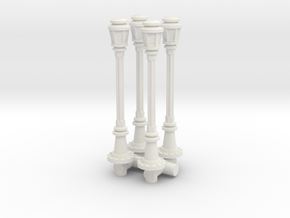 City Lamp Post (x4) 1/87 in White Natural Versatile Plastic