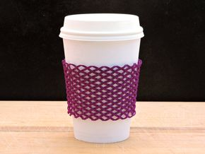 Coffee sleeve / bracelet in Purple Processed Versatile Plastic